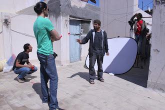 Photo: Ahmad Abdalla, in the set of Microphone - Alexandria 2010, with DOP Tarek Hefny, Actor : Ahmed Magdy