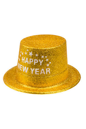 Glitterhatt, guld happy new year