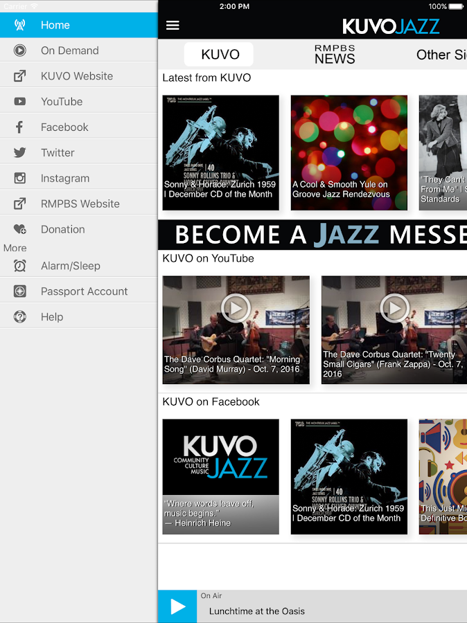 KUVO Public Radio App- screenshot