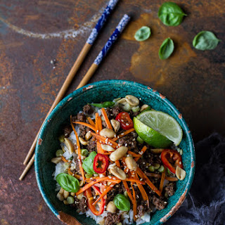 20 Minute Thai Basil Beef and Lemongrass Rice Bowls. Recipe