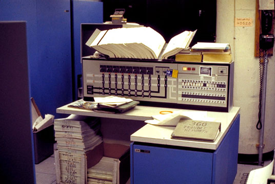 Photo: Configuration console for the IBM S/360-67 computer at the Computing Center, North University Building, University of Michigan, Ann Arbor, Michigan, USA, c. 1968