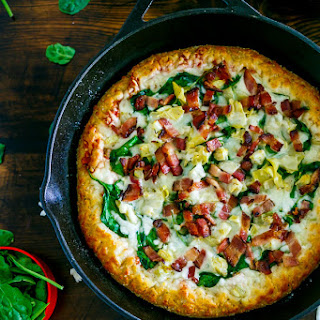 Bacon Spinach Artichoke Pizza.
