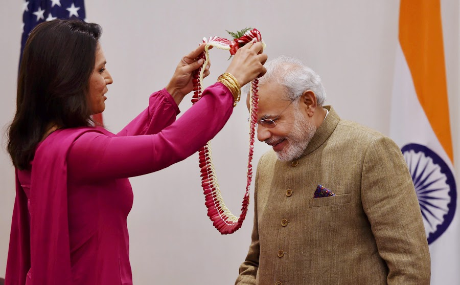 Tulsi Gabbard, who visited India on the personal invitation of Narendra Modi, has played a significant part in rehabilitating his image in the United States.. vijay verma / pti