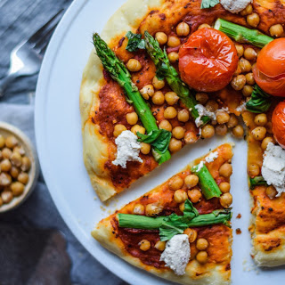 Mediterranean Personal Pizza With Roasted Chickpeas [Vegan].