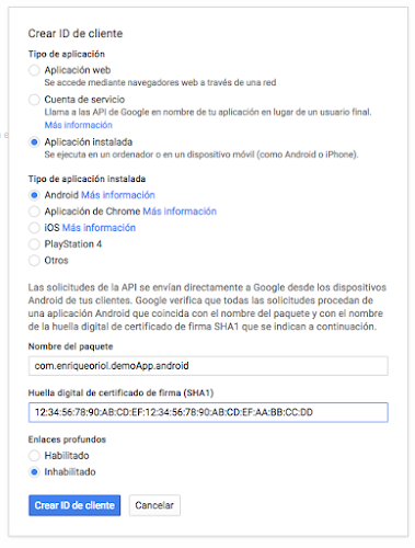 Google+ Create Client ID