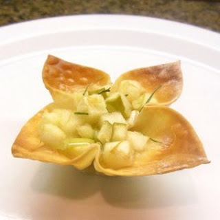 Ham, Brie and Apple Won Ton Appetizer