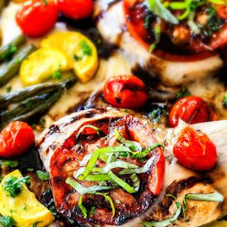Sheet Pan Caprese Balsamic Chicken and Veggies.
