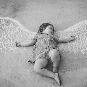 On Wings With Eagles by Julie Moses - Babies & Children Child Portraits ( child, chalk, black and white, wings, bible verse, sidewalk )