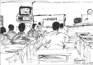 Photo: 常年教育2010.11.24鋼筆 每個月的常年教育,原是設計來増進公務員在職教育的,但卻經常淪為長官用來宣布事情及畫唬爛之用,於是我經常昏昏欲睡,不然就是想著晚餐的便當…
