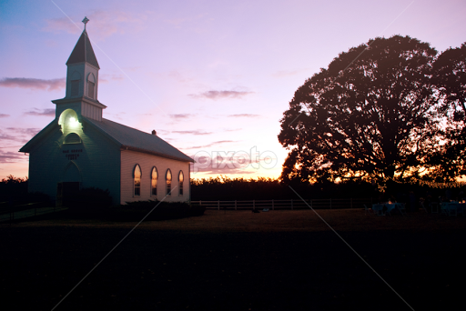 Country Church At Sunset By Rachelle Bell