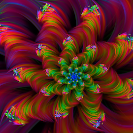 Flower 62 by Cassy 67 - Illustration Abstract & Patterns ( digital, love, harmony, surreal, abstract art, trippy, abstract, fractals, digital art, flower, psychedelic, modern, light, fractal, style, energy, fashion )