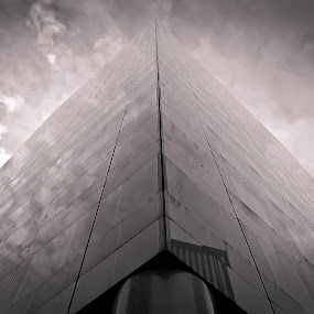 Aim for infinity by Ioan G Hiliuta - Buildings & Architecture Architectural Detail ( clouds, cool, building, tower, black and white, glass, block, infinity, tall )