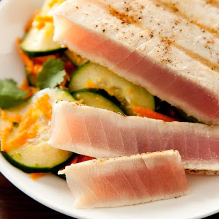 Grilled Tuna with Cucumber Salad