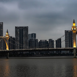 The bridge by Tony Mortyr - City,  Street & Park  Skylines ( city, bridge, river )