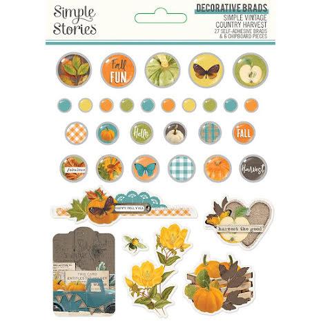 Simple Stories Self-Adhesive Brads 33/Pkg - SV Country Harvest