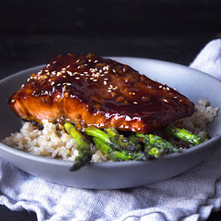 Teriyaki Salmon Bowl with Sautéed Asparagus
