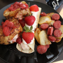 Birthday Breakfast by Rohan Jackson - Food & Drink Plated Food ( crepe, potatoes, cream cheese, sausage, french toast )