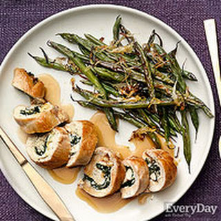 Stuffed Chicken Pinwheels with Roasted Green Beans.