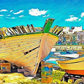 Maltese Boat Repair Yard  by James Morris - Digital Art Things ( repair, yard, malta, boats, maltese, boat )