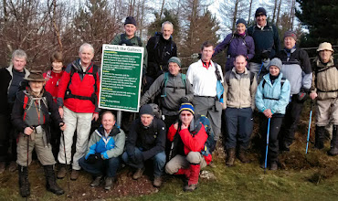 Photo: Thos O'Neill's A walkers and George Keogh's B walkers at the start of the climb to Cush on Sunday January 4th, 2015, at the 'Cherish the Galtees' sign erected by the club.