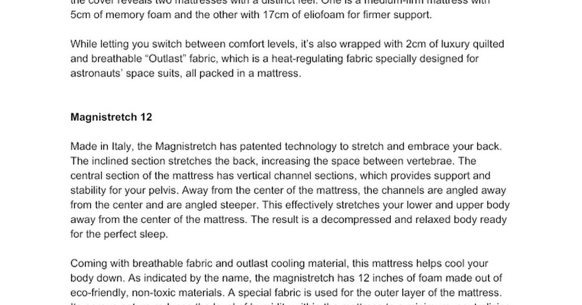 (Product Descriptions) Mattresses