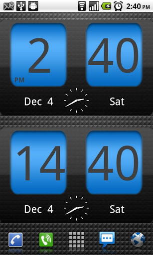 FlipClock Blue Magic Dark screenshot 2