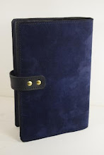 Photo: S0428 ($99.95) Navy Blue Nubuck leather Dual Hardcover Big Book and 12&12 cover (strap & snap)