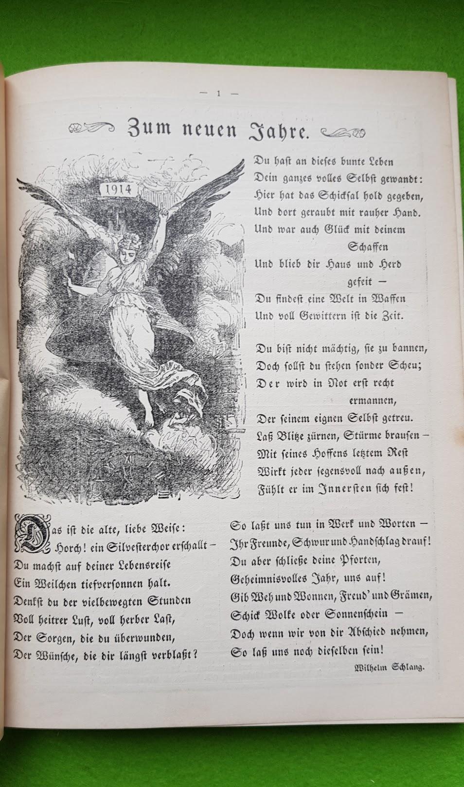 Großer Volkskalender des Lahrer hinkenden Boten - 1914 - Gedicht zum neuen Jahre