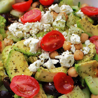 Avocado Chickpea Cucumber and Tomato Salad.