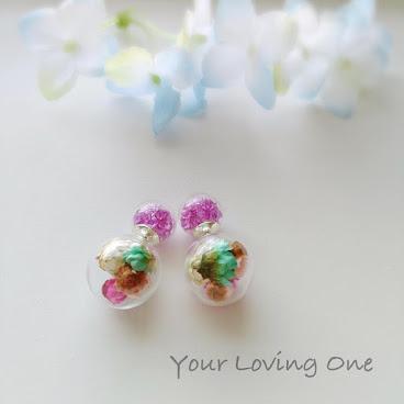小雛菊雙球耳環(紫色珠)