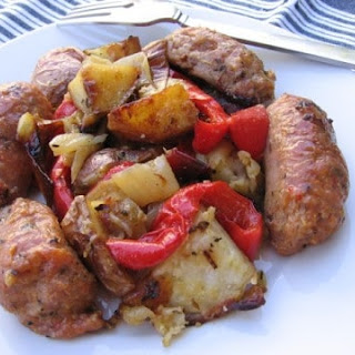 Sausage, Peppers, Onions and Potatoes in the Oven.