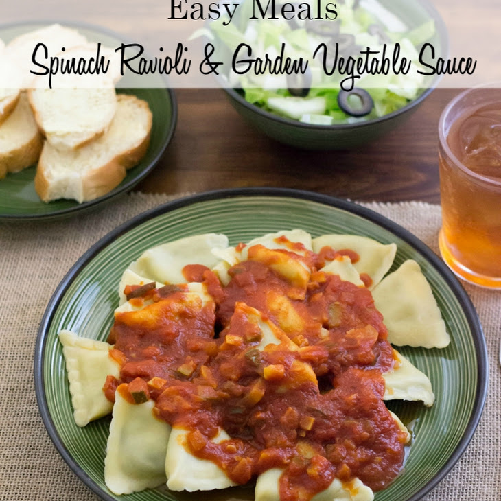 Spinach Ravioli with Easy Garden Vegetable Sauce Recipe