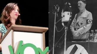 Composición fotografica de la portavoz de Vox y el dictador alemán, publicada en insurgente.com.