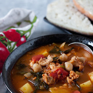 Pressure Cooker Chorizo, Chicken and Kale Soup.