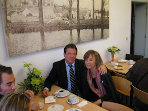 """Photo: Between Christian's presentatiion and Anne's English language presentation, """"In Pursuit of Paul,"""" the Kring treated us to coffee and a  local specialty, a very delicious cheesecake.  Professor Robert Muller (grandson of Paul's daughter Pauline) and his wife Françoise, enjoying our coffee break."""
