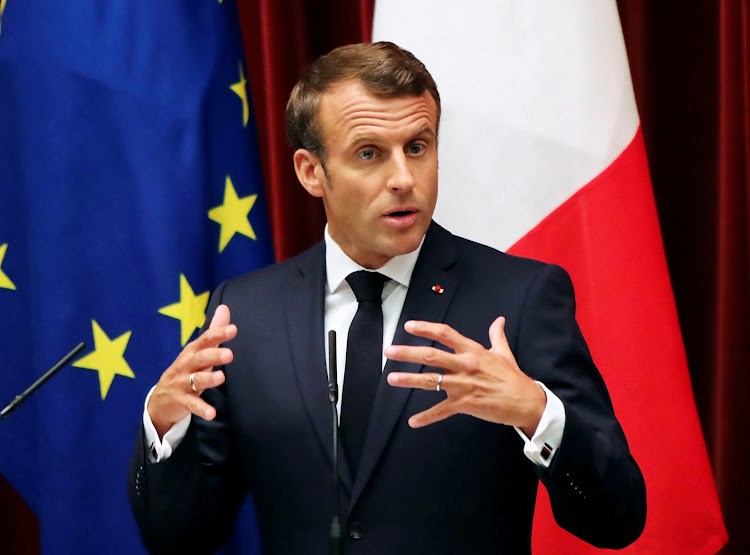 French President Emmanuel Macron speaks during a joint news conference with Japanese Prime Minister Shinzo Abe in Tokyo, Japan, on Wednesday, June 26 2019. Macron warned Iran on Thursday not to quit its 2015 nuclear deal.