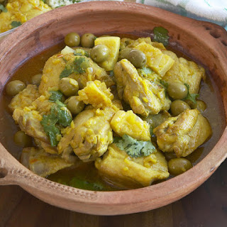 Chicken Tagine with Olives and Preserved Lemons.