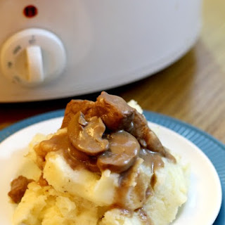 Slow Cooker Beef Tips in Mushroom Gravy.