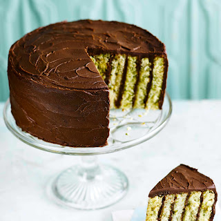 Pistachio and Chocolate Stripe Cake Recipe