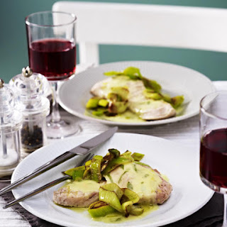 Turkey Cutlets with Buttered Leeks and Lemon Sauce