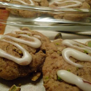 Almond Pistachio Cookied With Saffron Icing.