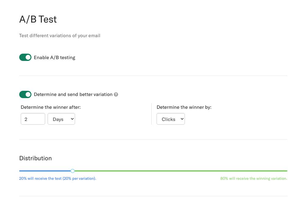 A/b testing in Encharge screen