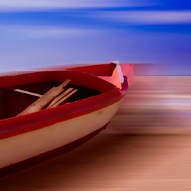 RED, WHITE AND BLUE OBJECTS by Yako Laverde - Digital Art Things ( red, sky, sand, blue, white, boat, sea,  )