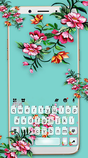 Summer Time Flowers Keyboard Theme screenshots 1