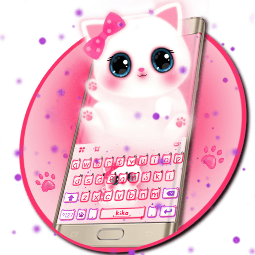Keyboard - Cute Kitty pinky Free Emoji Theme