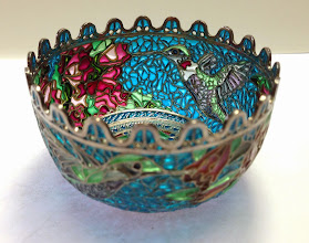 Photo: Plique-à-Jour Enamels by Diane Echnoz Almeyda - Hummingbirds Vessel (Bowl Form) - Fine Silver, Plique-à-Jour Enamels - Approximate size 42mm (h) x 69mm (diam) - $5200.00 US