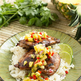 Hawaiian Coconut Grilled Chicken with Pineapple Salsa.