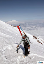 """Photo: Katka as always with smile - volcano Zhupanovsky (2923 m) seems to be """"just"""" behind her."""
