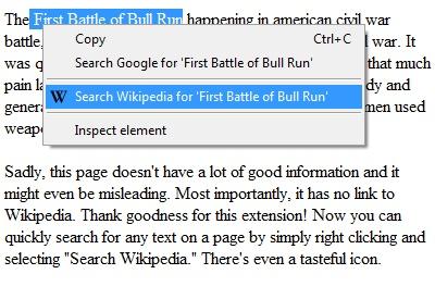 Right-Click Search Wikipedia