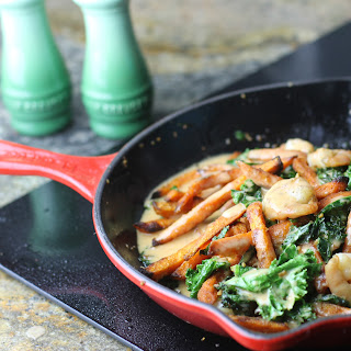 Shrimp, Kale, and Sweet Potato Skillet With Coconut Curry Sauce